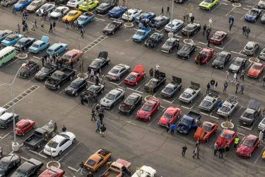 Aerial view Cars and Coffee South Bay