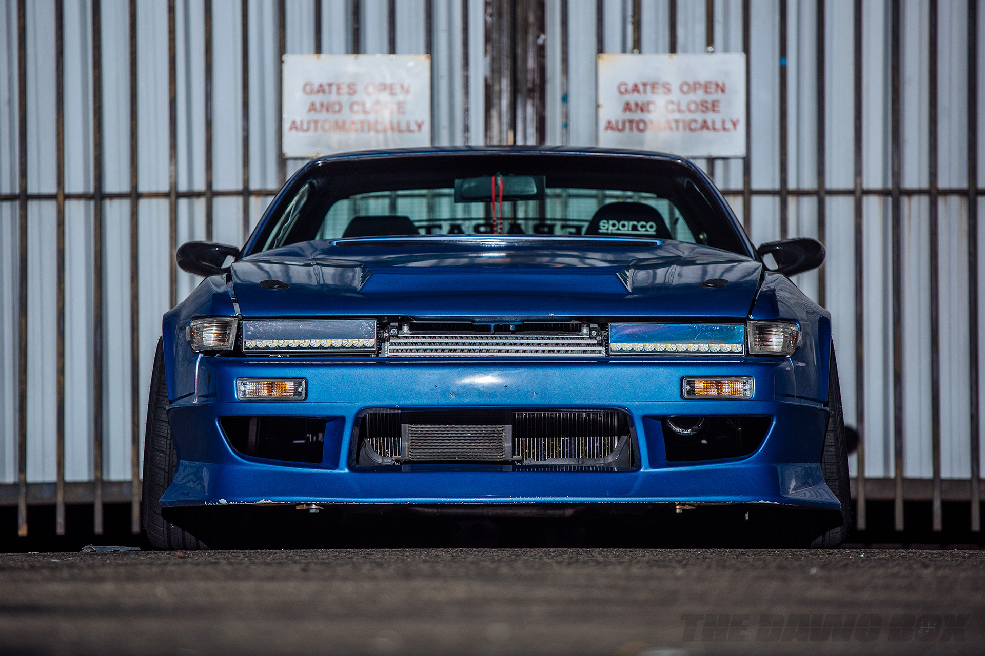 Blue Nissan 240SX S13 Silvia Coupe, Front Close-Up