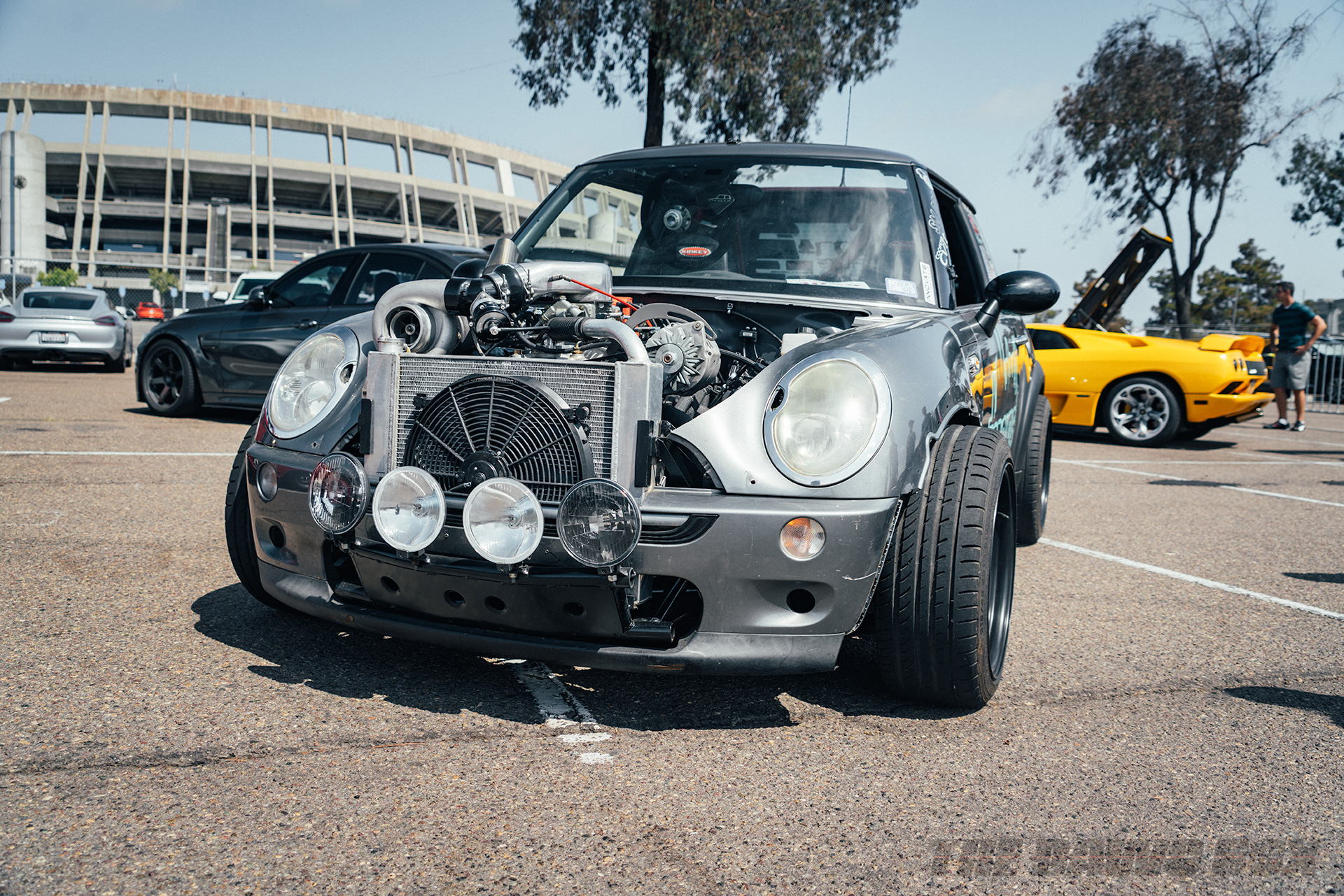 Stephan Brown's R56 Cooper with a turbocharged Chevrolet 350ci swapped in and converted to rear-wheel-drive