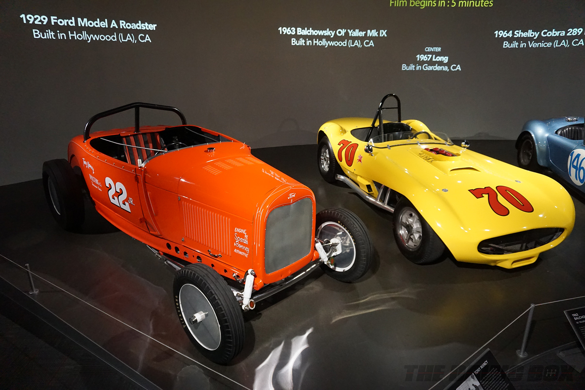 Orange 1929 Ford Model A Roadster and Yellow 1963 Balchowsky Ol' Yaller Mk IX