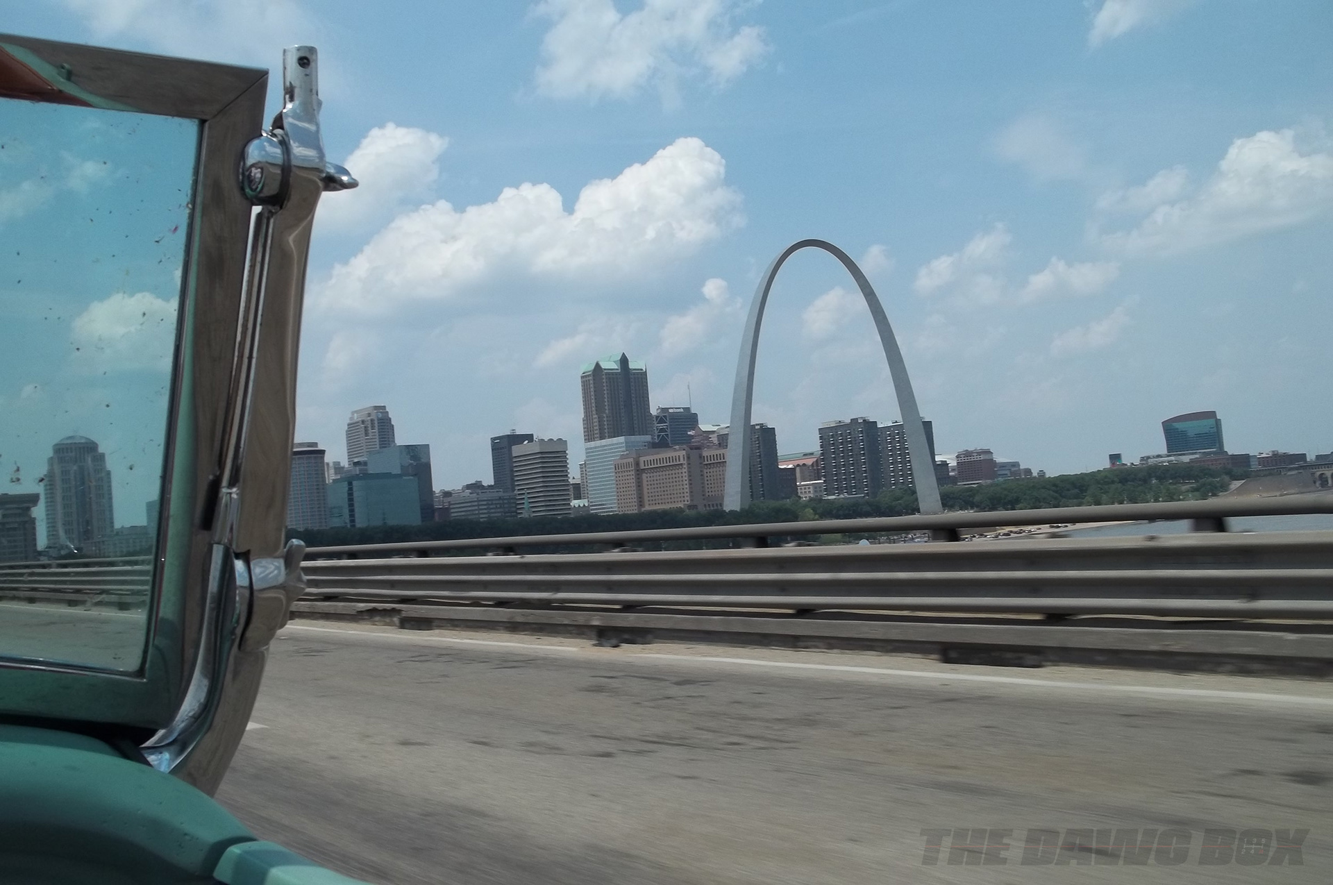 St. Louis, Missouri's Gateway Arch from the passenger side of Henry Astor's '32 Ford Roadster