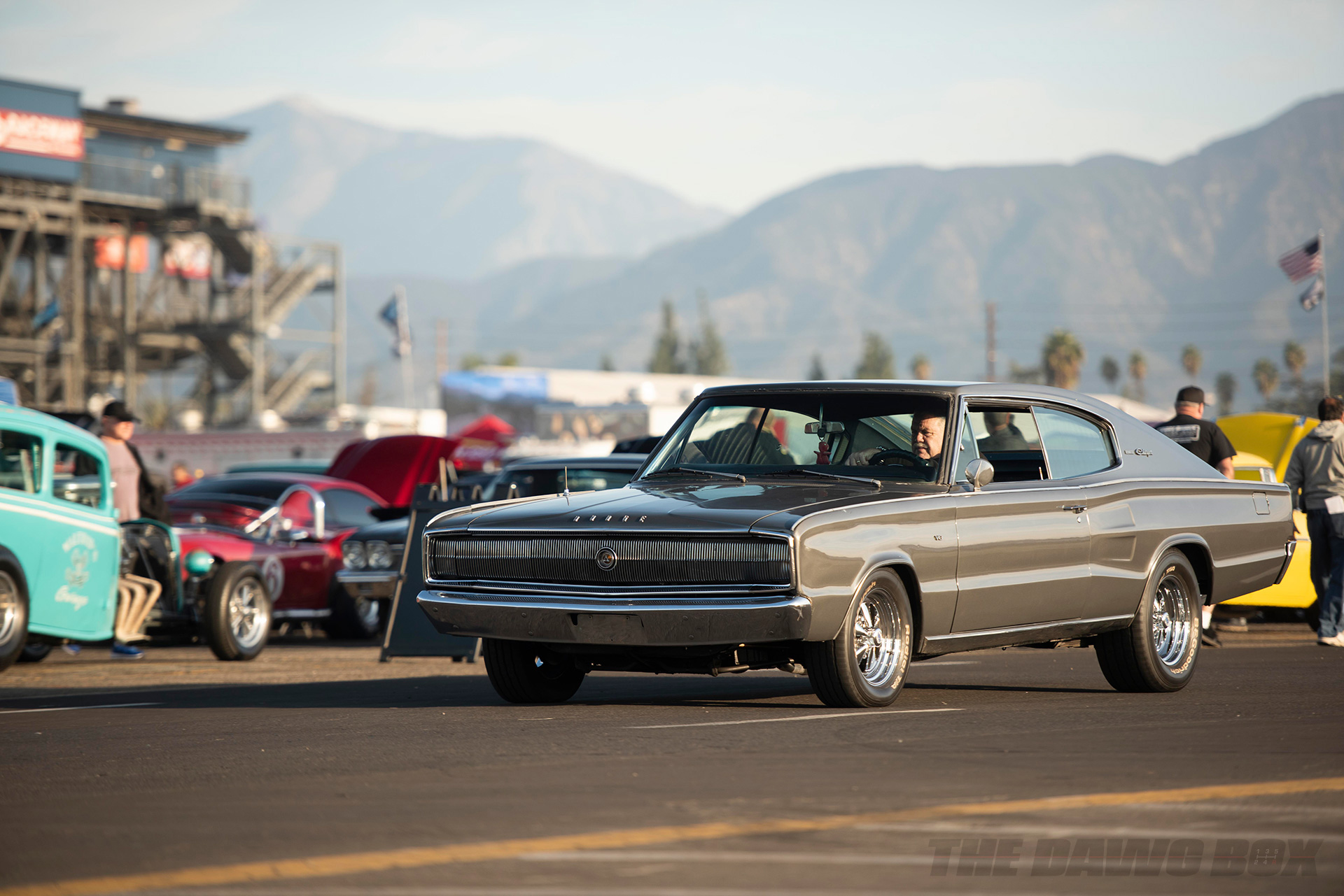 grey dodge dragtser at the In-N-Out Hot Rod 70th Celebration