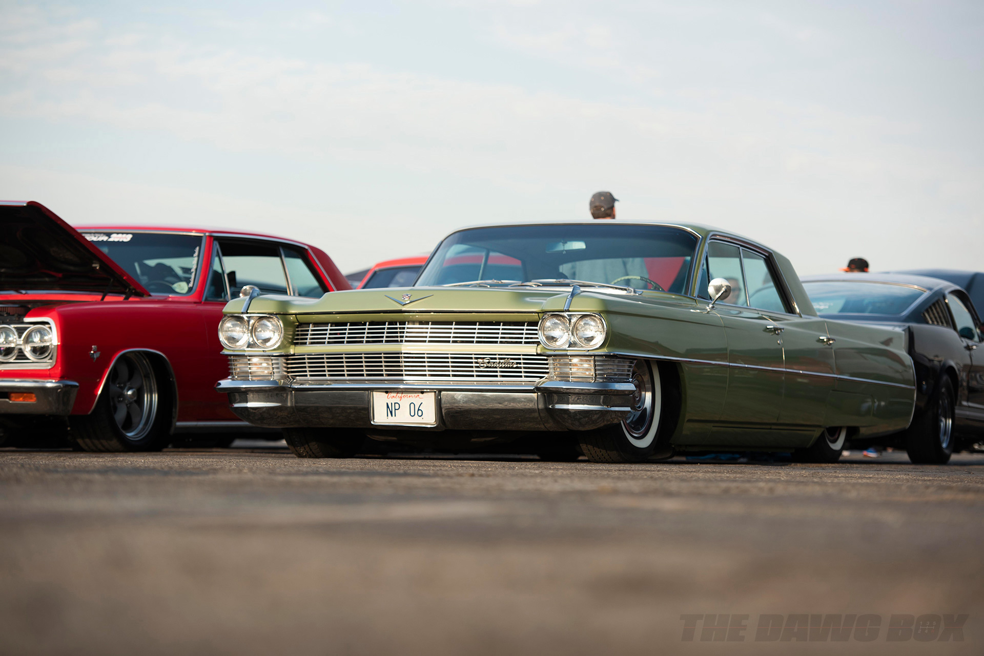 green cadillac deville at the In-N-Out Hot Rod 70th Celebration