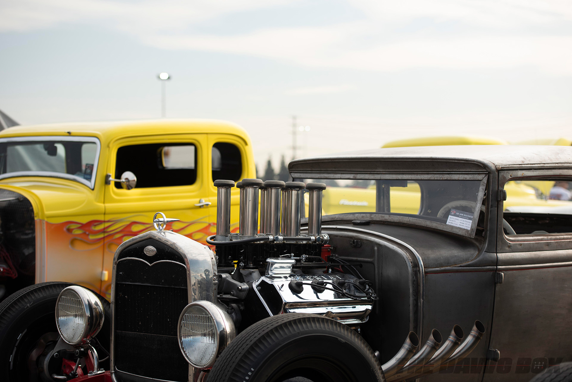 black ford hot rod at the In-N-Out Hot Rod 70th Celebration