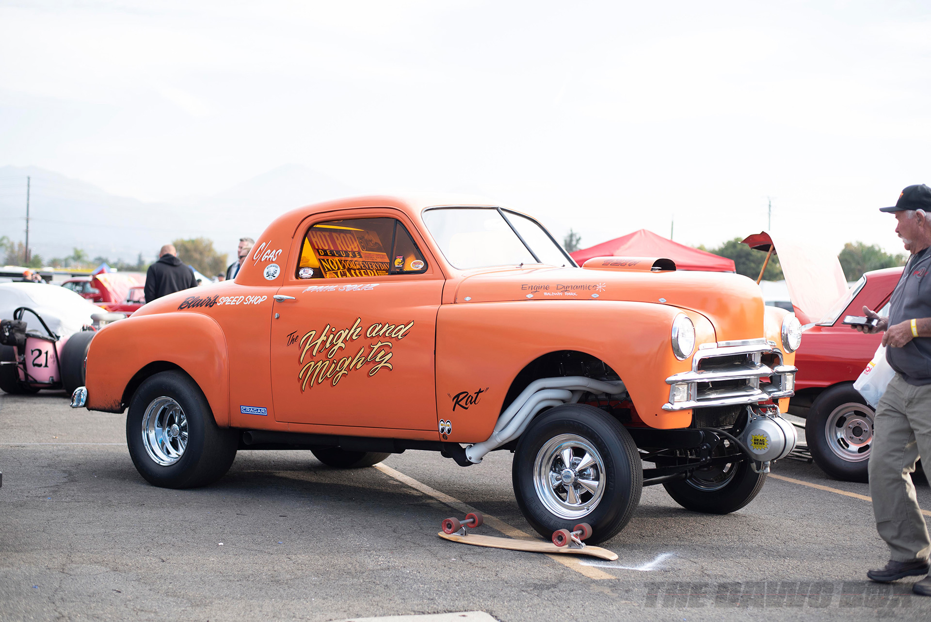 orange chevy dragster at the In-N-Out Hot Rod 70th Celebration