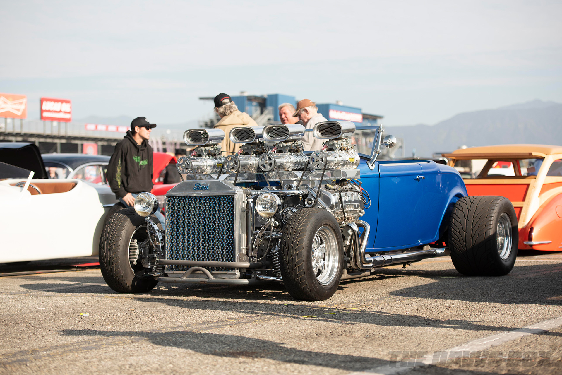 blue ford hot rod at the In-N-Out Hot Rod 70th Celebration