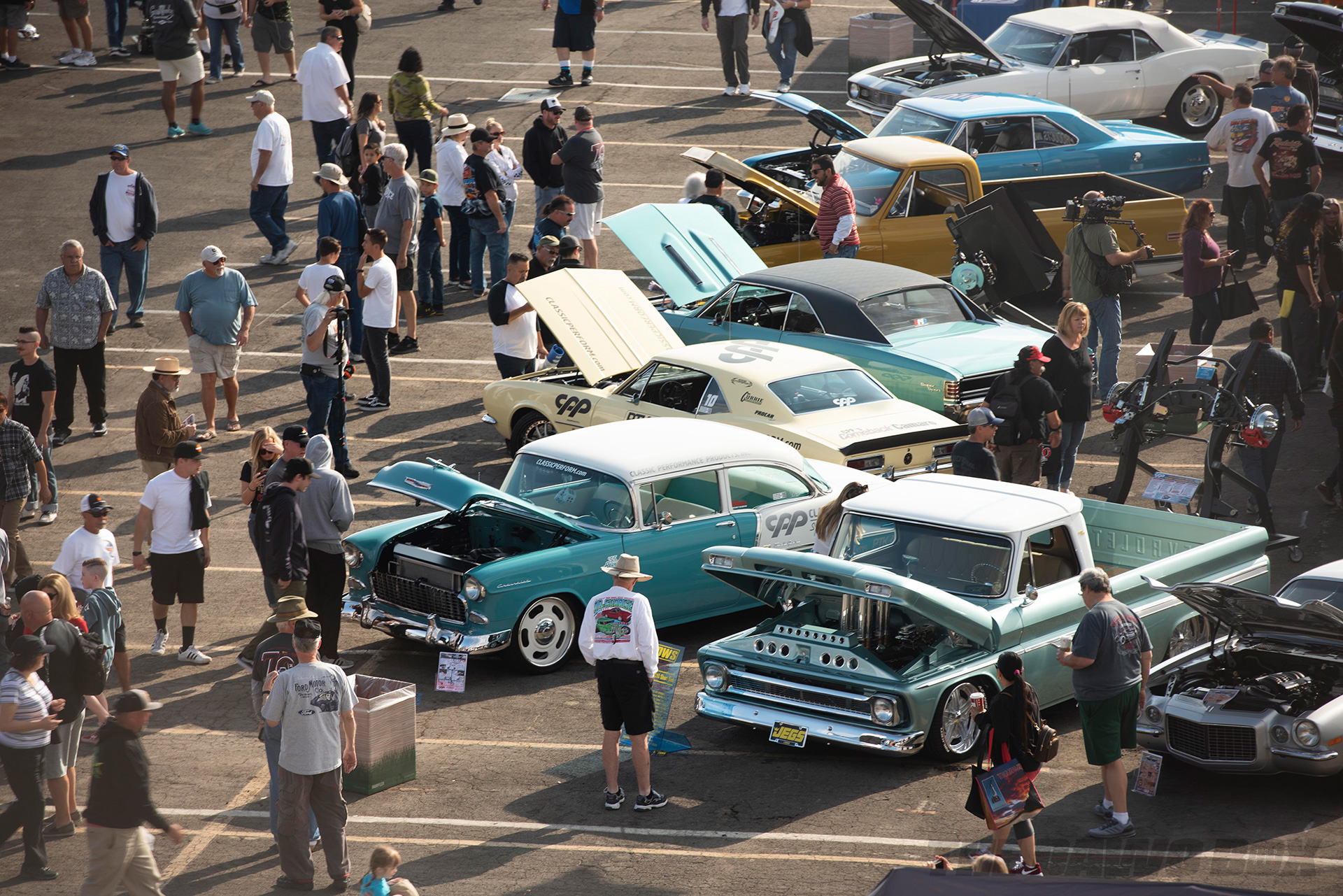 aerial shot of some of the classic cars on display at the In-N-Out Hot Rod 70th Celebration