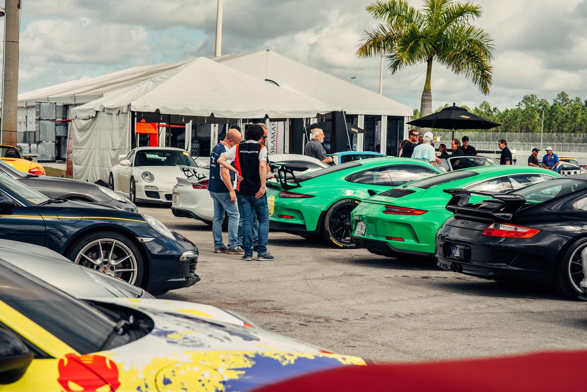 Porsche rear ends lined up at DRT Das Renn Treffen 2019