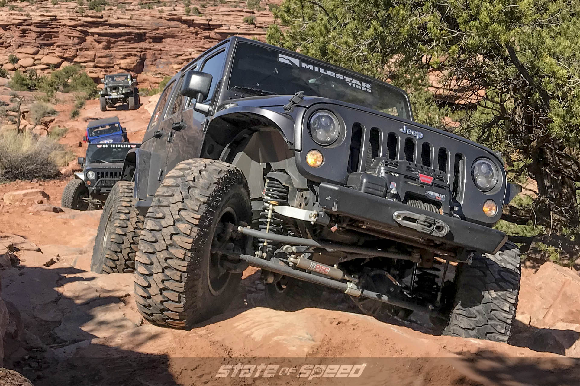 Jeep with straight axle climbing