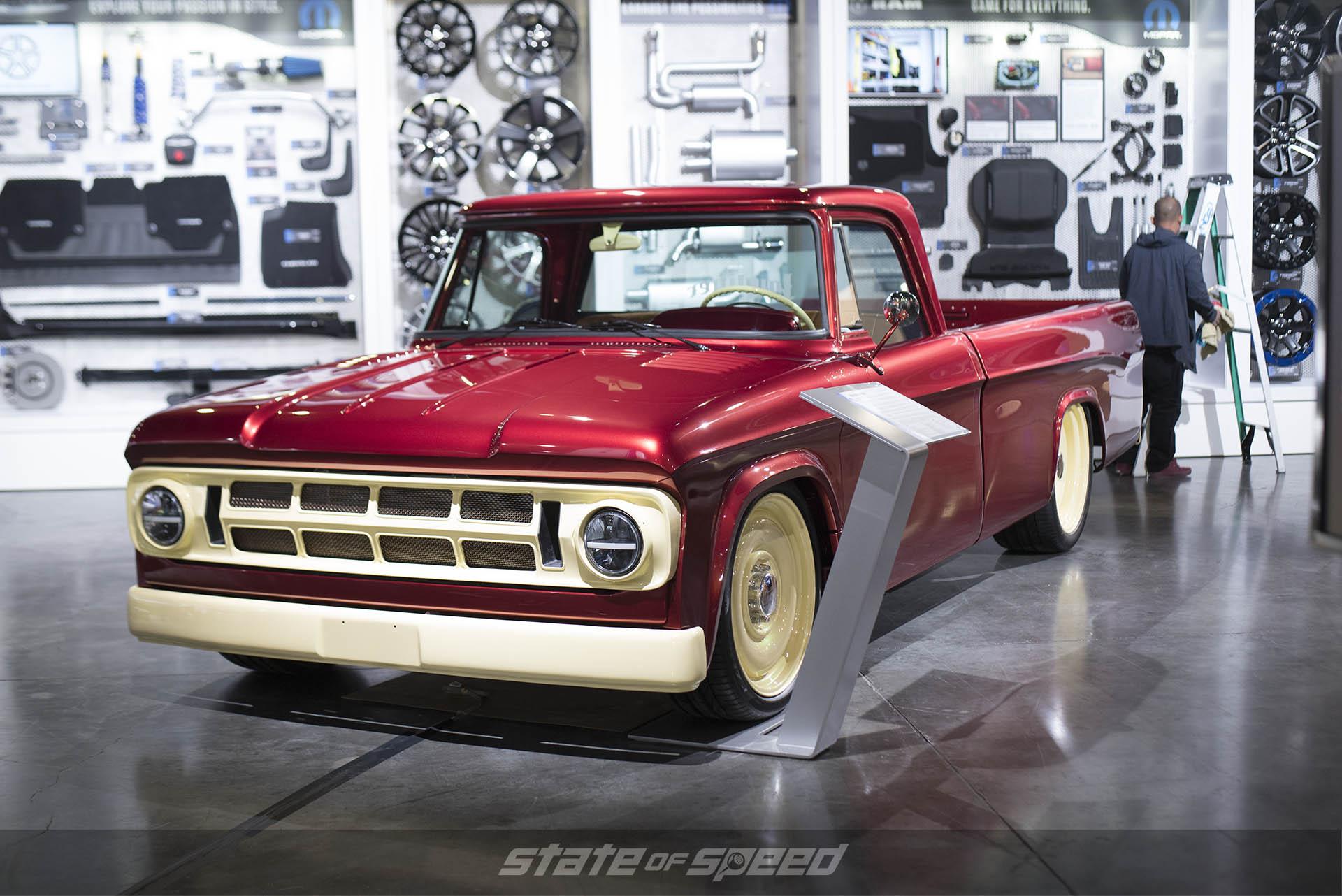 Chevy truck on the showroom floor in Vegas