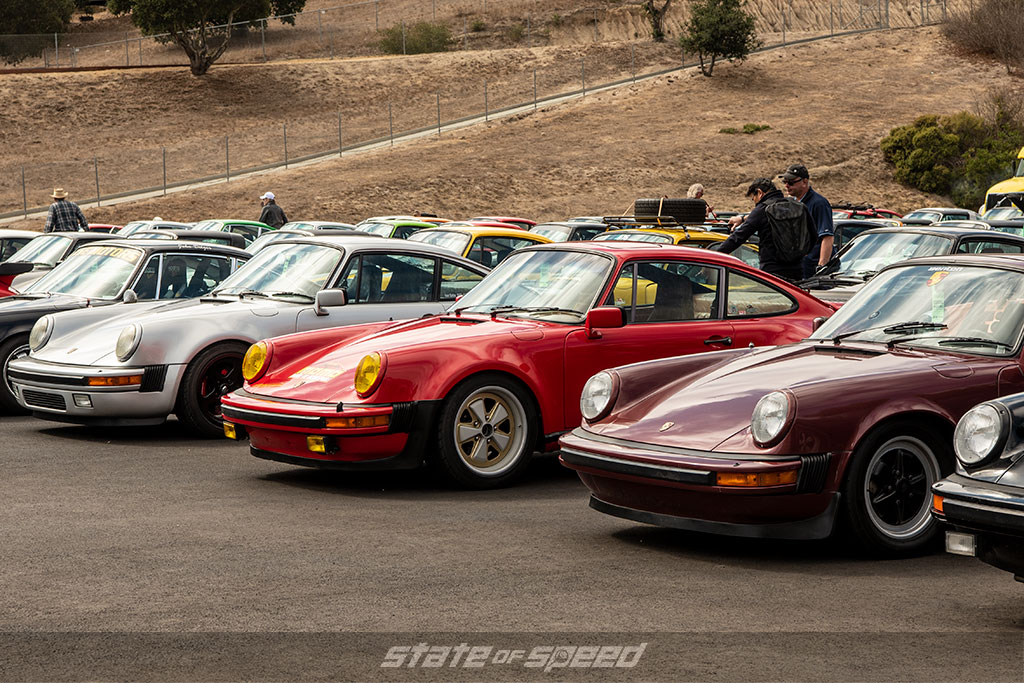 Porshe 911s lined up
