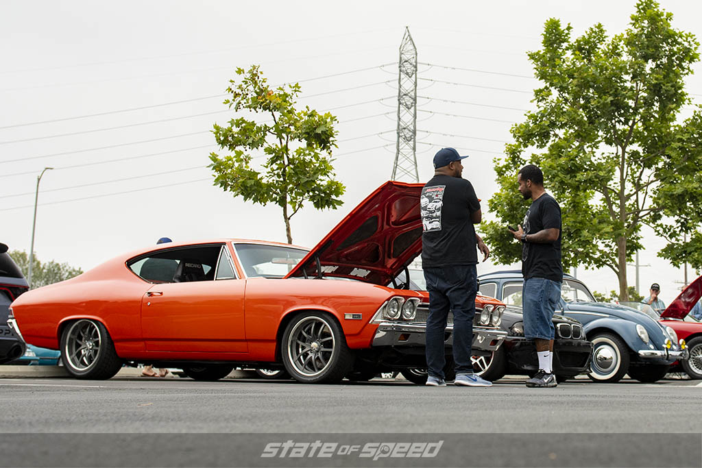 Orange Chevrolet muscle car at State of Speed Los Angeles LA
