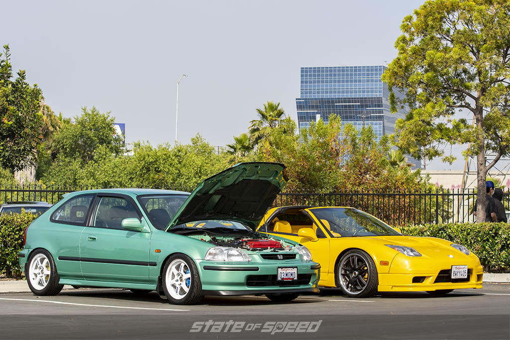 Green Honda Civic and Yellow Acura NSX at State of Speed Los Angeles LA
