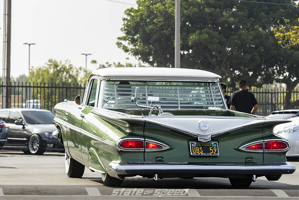 Green Cadillac at state of speed Los Angeles LA