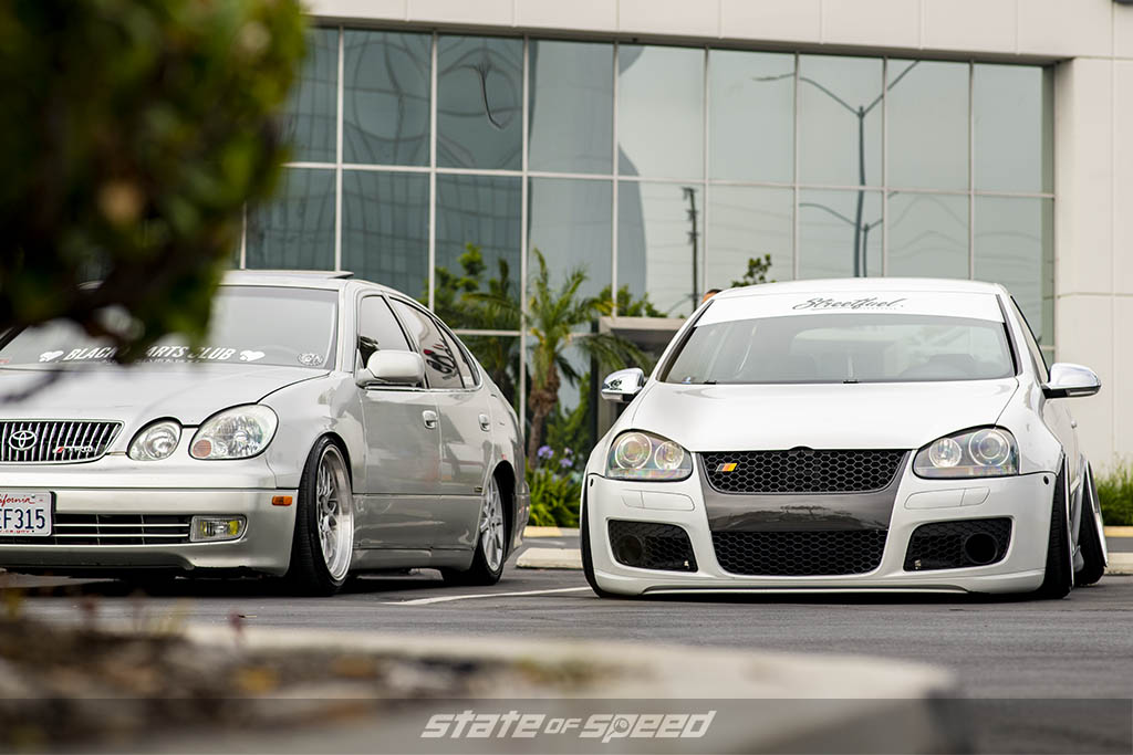 Grey Toyota and White Volkswagen Golf at State of Speed Los Angeles LA