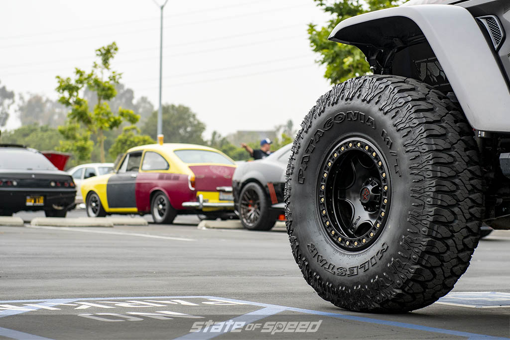 Milestar Patagonia M/T 40x13.50 R17 LT on a grey jeep rubicon at State of Speed Los Angeles LA