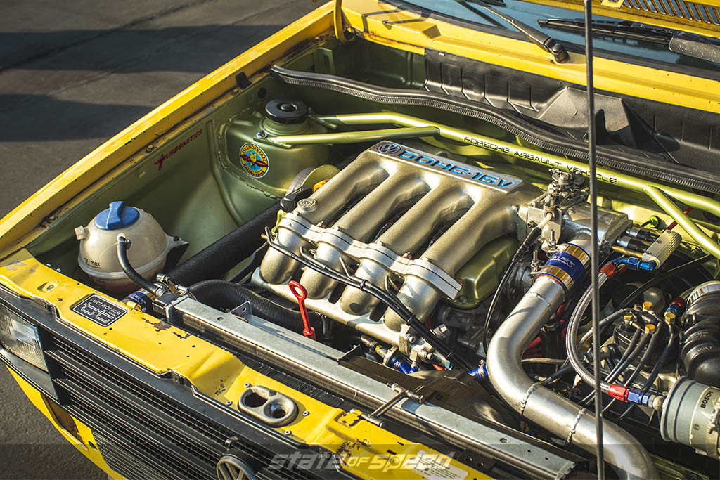engine bay at car show in socal