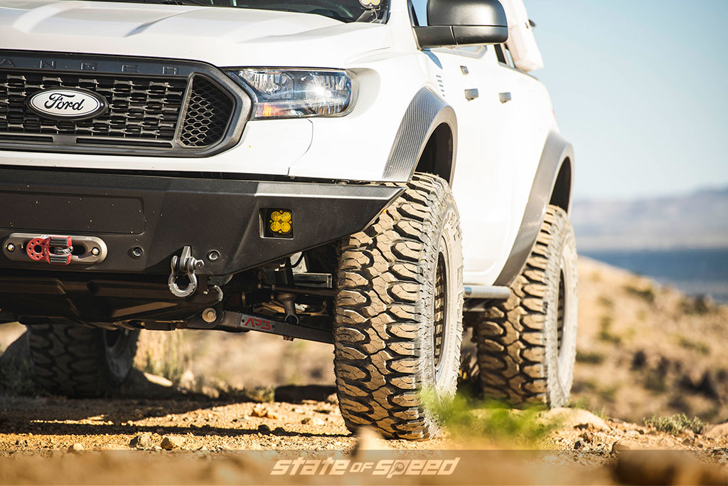 White Ford Ranger with 35 inch off road tires