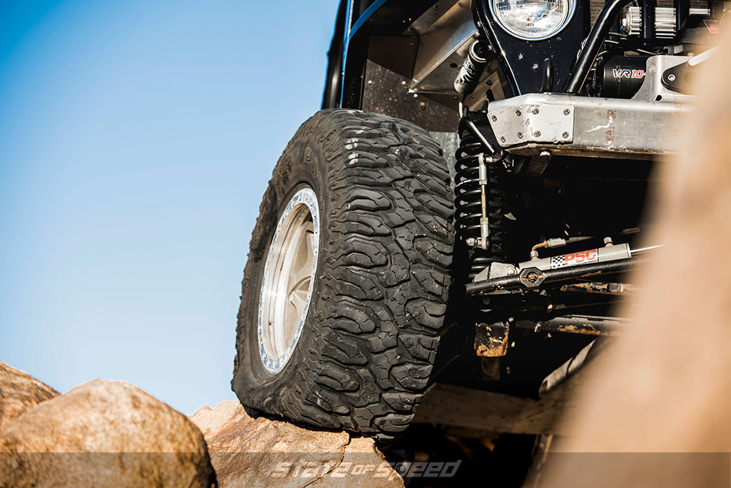 Jeep offroading and rock crawling on tall Milestar Patagonia M/T tires