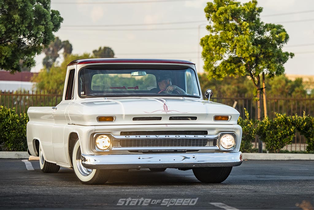 White Generation 1 Chevy C-10 Restomod with pinstriping