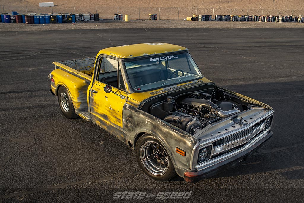 Yellow Chevrolet C-10 Stepside Restomod drag truck with an LS Swapped engine