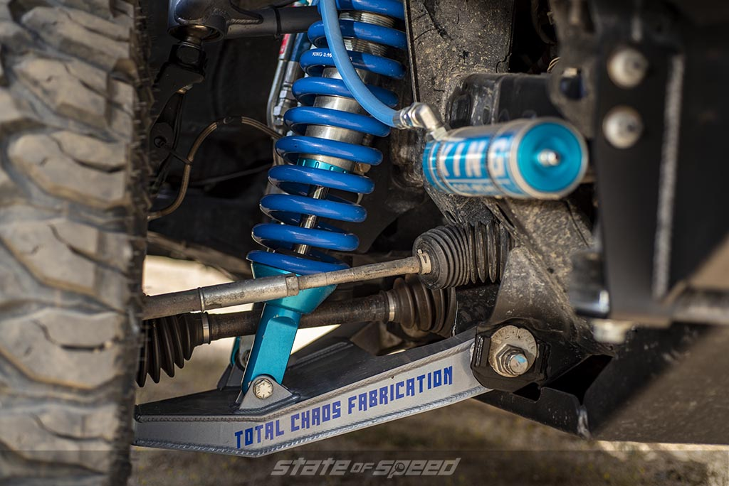 Blue and silver Total Chaos Fabrication Lower Control Arm LCA and King Coilovers with oil reservoir