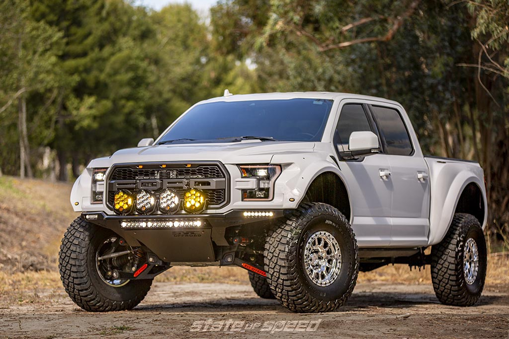 White Ford F-150 Raptor Gen 2 with SVC Suspension upgrades and SVC widebody kit